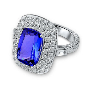 Royal Wedding Rings 18K White Gold Tanzanite Engagement Ring - EK CHIC