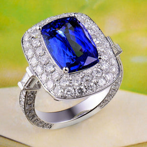 JEWELRY Royal Wedding Rings 18K White Gold Tanzanite Engagement Ring - EK CHIC