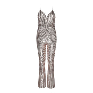 JUMPSUIT Spaghetti Strap V-Neck Sequined Elegant Jumpsuit - EK CHIC