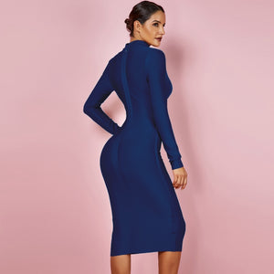 Long Sleeve  V Neck Bandage Bodycon Dress - EK CHIC