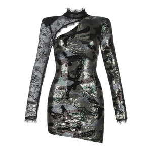 DRESS Black With Silver Sequin Celebrity Show Dress - EK CHIC