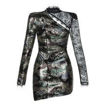 Load image into Gallery viewer, DRESS Black With Silver Sequin Celebrity Show Dress - EK CHIC