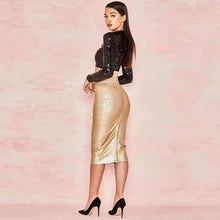 Load image into Gallery viewer, Fashion Black Sequin Top With Gold Two 2 Pieces Set Bandage Dress - EK CHIC