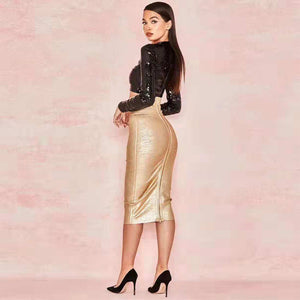 DRESS Fashion Black Sequin Top With Gold Two 2 Pieces Set Bandage Dress - EK CHIC