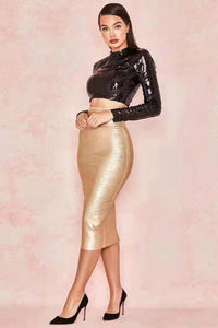 Fashion Black Sequin Top With Gold Two 2 Pieces Set Bandage Dress - EK CHIC