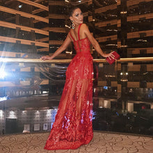 Load image into Gallery viewer, DRESS Elegant Red Long Lace Dress - EK CHIC