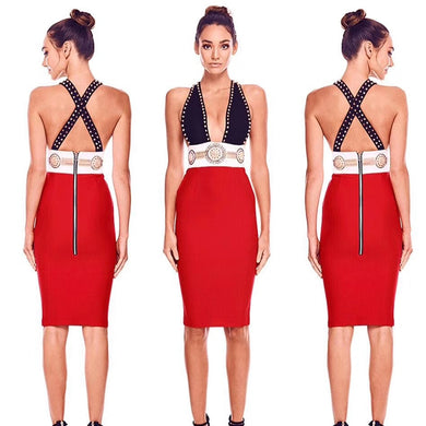 Sexy V Neck Plunge Bodycon  Bandage Dress - EK CHIC