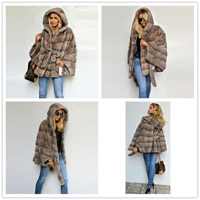FUR Luxury Natural Real Mink Fur Coat With Belt Stand Collar - EK CHIC