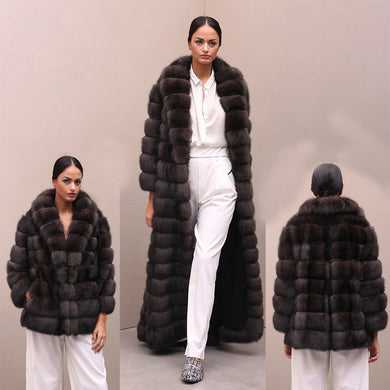 LUXURY Detachable Natural Fox Fur Coat - EK CHIC