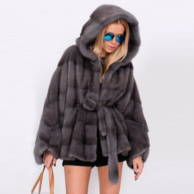 Mink Fur Coat  Bat Style  Overcoat - EK CHIC