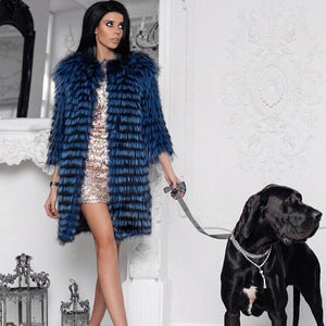 Silver Fox Fur Coat - EK CHIC