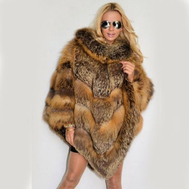 LUXURY Natural Fox FUR PONCHO - EK CHIC