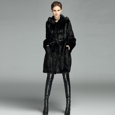 Natural MINK Fur Long Coat - EK CHIC