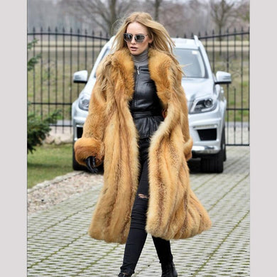 FUR Red Fox Fur With Turn-down Collar - EK CHIC