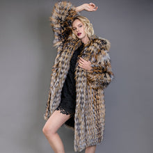 Load image into Gallery viewer, Silver Fox Fur Coat With Hood - EK CHIC