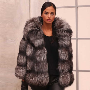 FUR COAT Sliver Fox Fur Coat - EK CHIC