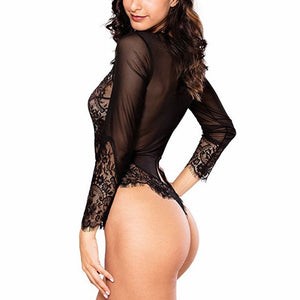LINGERIE Leotard Bodysuit Long Sleeve Lace Sexy Deep-V Jumpsuit - EK CHIC