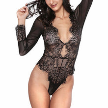 Load image into Gallery viewer, LINGERIE Leotard Bodysuit Long Sleeve Lace Sexy Deep-V Jumpsuit - EK CHIC