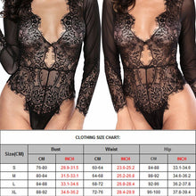 Load image into Gallery viewer, Leotard Bodysuit Long Sleeve Lace Sexy Deep-V Jumpsuit - EK CHIC