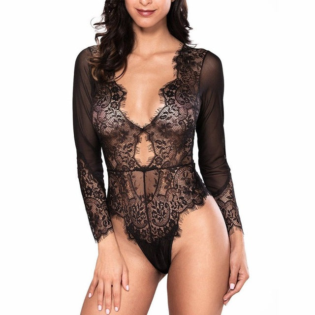 Leotard Bodysuit Long Sleeve Lace Sexy Deep-V Jumpsuit - EK CHIC