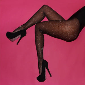 High Waist Tight Shiny Rhinestone Mesh Fishnet Stockings - EK CHIC