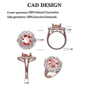 JEWELRY Fantastic Natural Tourmaline Diamonds 18K Rose Gold Engagement Party - EK CHIC