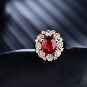 JEWELRY Natural Tourmaline Diamonds 18K Rose Gold Engagement Ring - EK CHIC