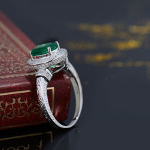 Load image into Gallery viewer, JEWELRY Colombian Emerald And Diamond Ring In White Gold 14k Oval Cut 7x9mm - EK CHIC