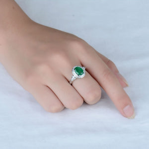 JEWELRY Colombian Emerald And Diamond Ring In White Gold 14k Oval Cut 7x9mm - EK CHIC