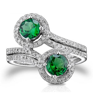 JEWELRY Round 5.5mm Solid 14kt White Gold Natural Tsavorite Ring - EK CHIC