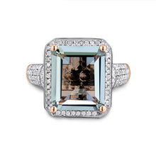 Load image into Gallery viewer, JEWELRY Emerald Cut 100% Natural Amethyst Diamond Engagement Ring Solid 14K Rose Gold - EK CHIC