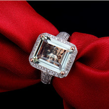 Load image into Gallery viewer, Emerald Cut 100% Natural Amethyst Diamond Engagement Ring Solid 14K Rose Gold - EK CHIC