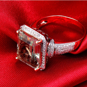 Emerald Cut 100% Natural Amethyst Diamond Engagement Ring Solid 14K Rose Gold - EK CHIC