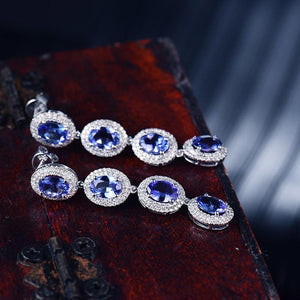 14kt White Gold Natural Diamond Tanzanite Drop Earrings - EK CHIC