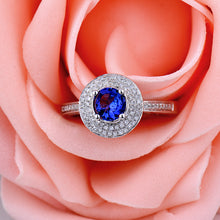 Load image into Gallery viewer, JEWELRY Natural Tanzanite Engagement Ring Round 5mm 14kt White Gold - EK CHIC