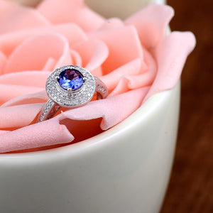 JEWELRY Natural Tanzanite Engagement Ring Round 5mm 14kt White Gold - EK CHIC