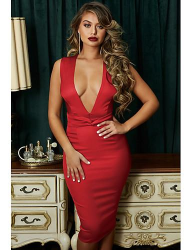 DRESS Women's Elegant Slim Sheath Dress - Solid Colored Sexy Fashion - EK CHIC