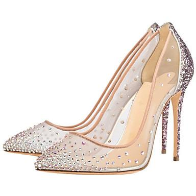 SHOES Women's Heels Stiletto Heel Pointed Toe Rhinestone Mesh - EK CHIC