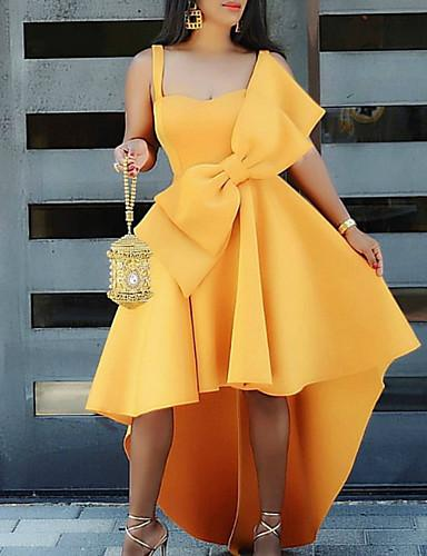 DRESS Women's A Line Dress - Solid Colored Bow Yellow L - EK CHIC