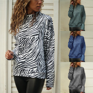 TOPS Zebra Print Women Turtleneck Top - EK CHIC