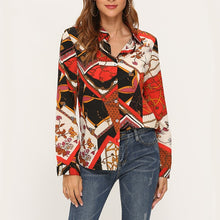 Load image into Gallery viewer, BUTTON DOWN SHIRT Chiffon Flower/Strip Printed Loose Blouse - EK CHIC