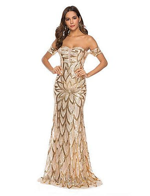 DRESS Women's Prom Bodycon Dress Backless Sequins Off Shoulder Gold - EK CHIC