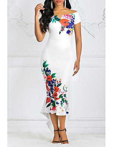DRESS Women's Asymmetrical Bodycon Dress - Floral Off Shoulder - EK CHIC