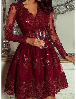 DRESS Women's Daily Wear Elegant A Line Dress - Geometric Sequins Deep V Wine - EK CHIC