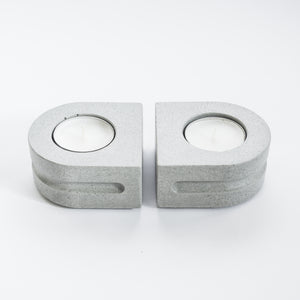 Set of Tealight Holders in Cool Grey