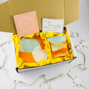 Splodge Chubby Pot and Tray Gift Set