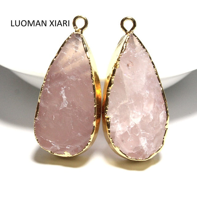 Water Drop Shape Rose Pink Quartz Crystal Pendant Necklace - Deals You May Like