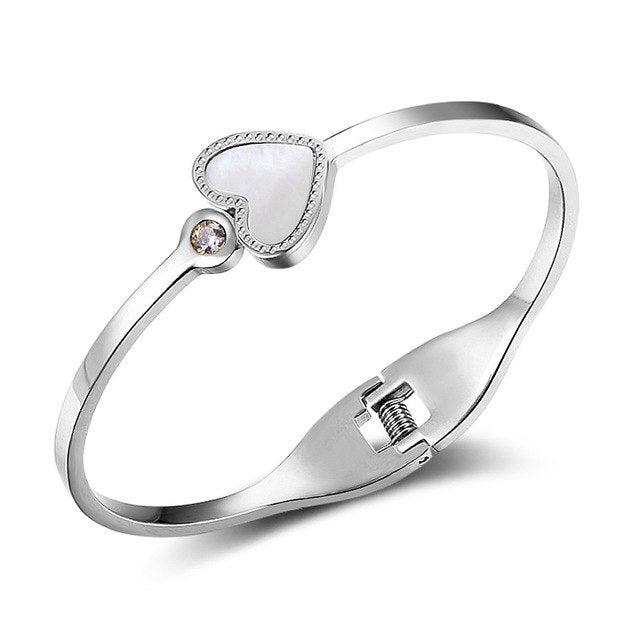 Heart Design Stainless Steel Bangles Silver Rose Colour Bracelet - Deals You May Like