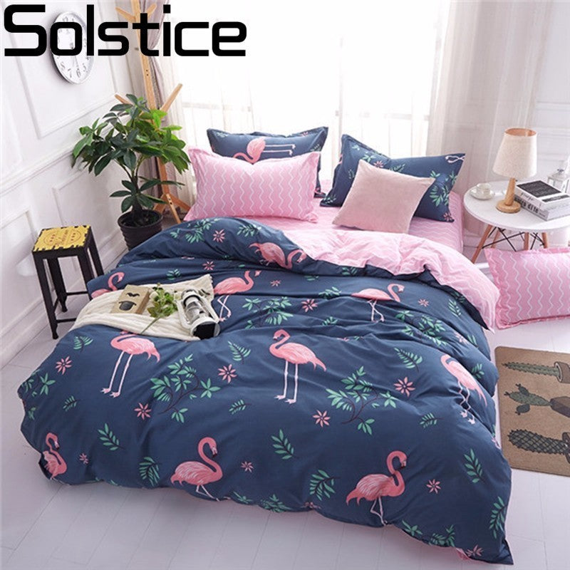Solstice Cartoon Pink Flamingo Bedding Sets 3/4pcs Geometric Pattern - Deals You May Like