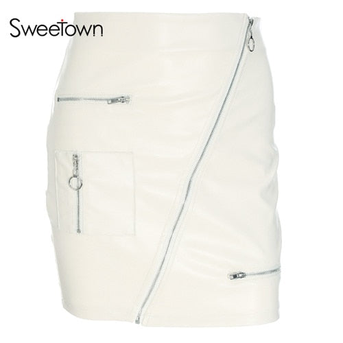 Sweetown White Korean Stylist Skirts For Women - Deals You May Like